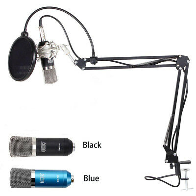 Professional 3.5mm Podcast Condenser Microphone PC Recording MIC with Boom Stand