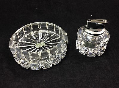 New vintage Mikasa matching glass cigarette ashtray table lighter bundle