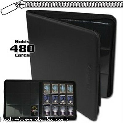 BCW Black Zipper Z-Folio LX Binder Album with 12 Pocket Pages holds 480 Cards