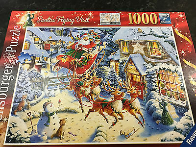 1000 Piece SANTA FLYING VISIT Jigsaw Puzzle by Ravensburger Complete