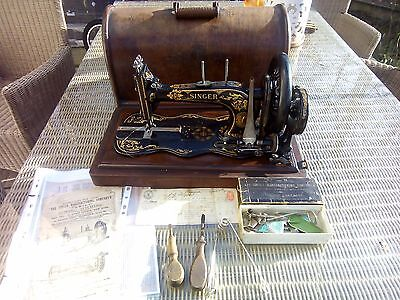 Antique Circa 1889 Singer Sewing Machine 12k Fiddle Base With Attachments + more
