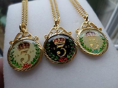 Vintage Enamelled Silver Threepence Coin Pendant & Necklace. Birthday Gift