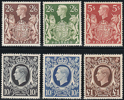1939-48 SG476/478c VERY FINE UNMOUNTED MINT SET OF 6 HIGH VALUES