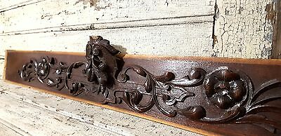 COAT OF ARMS PEDIMENT ANTIQUE FRENCH CARVED WOOD WALL DOOR BED PANEL 19 th 46 in
