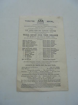 1869  New Theatre Royal Windsor 4 Page Promotional Item
