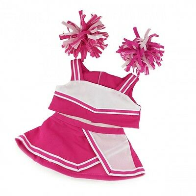 """Pink Cheerleader costume teddy bear clothes to fit 15"""" bears build a plush teddy"""