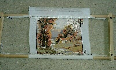 "Wooden Tapestry Frame (29x11.5"") With Unfinished Tapestry (12x16"") & Wool"