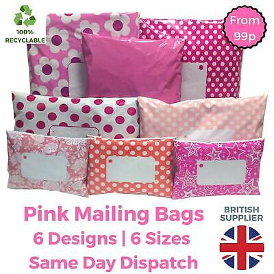 PINK Postal Mailing Bags Postage Coloured Plastic Packaging - Polka Dot Floral