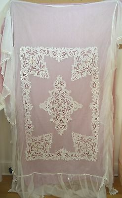 Vintage Antique Battenberg Lace Double Bed Cover With Pillow Flap Ss473