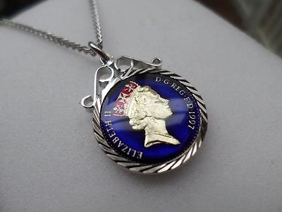 VINTAGE ENAMELLED 5 PENCE COIN 1997 PENDANT & NECKLACE. 20th BIRTHDAY PRESENT