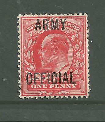 KEVII 1902 SG049 1d Scarlet with ARMY OFFICIAL overprint. Unmounted Mint