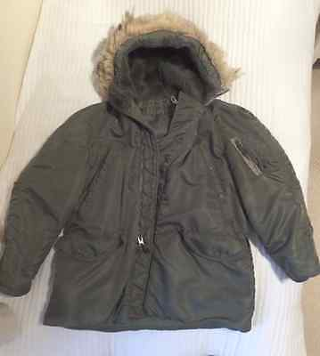 Military Vintage Parka Cold Weather Large Scovill 1973 US Air Force USA