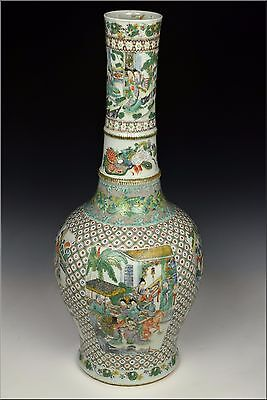 Large 19th Century Chinese Famille Verte Bottle Vase Scenes & Animals