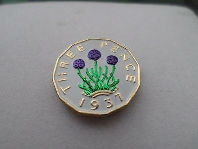 Vintage Hand Painted Threepence Coin. Many Dates Available. Birthday Present