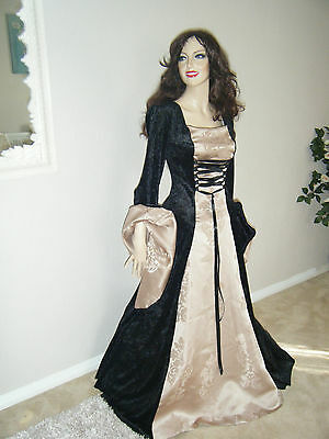 Medieval Renaissance Scarlett O'hara Dress Costume Gown 10-16 18-22 Taupe/black