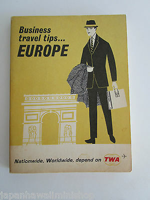 TWA Trans World Airlines BUSINESS TRAVEL TIPS GUIDE to EUROPE 1965 (USA edition)