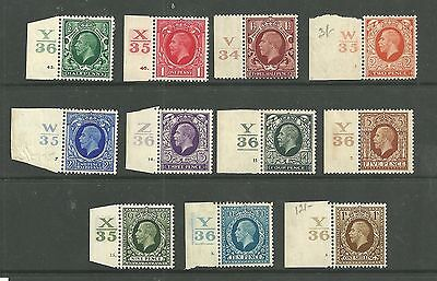 1934 SG439 - 449 Photogravure definitive set of 11  with control numbers. Mint
