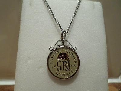 Vintage Enamelled Sixpence Coin 1948 Pendant & Necklace. Great Birthday Gift