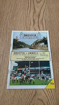 Bristol v Orrell 1989 Pilkington Cup 3rd round Rugby Union Programme