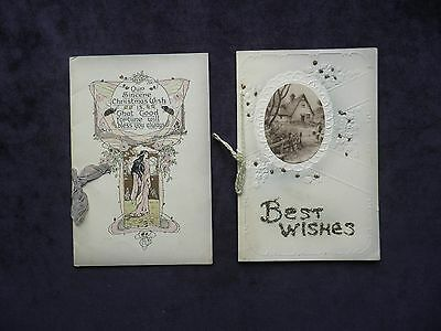 2 Antique Vintage Old Christmas Greetings Cards