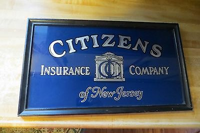 Citizens Insurance Company of New Jersey,Hartford Co.reverse glass antique sign