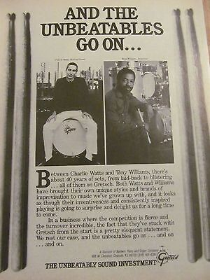 Charlie Watts, Rolling Stones, Gretsch Drums, Full Page Vintage Promotional Ad