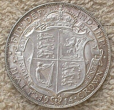 1914 King George V British Silver Half-Crown Coin