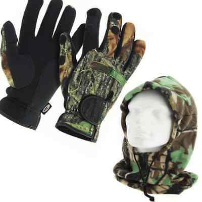 Fishing Gloves and Camo Snood Neoprene with Folding Fingers, SIZES M,L & XL NGT