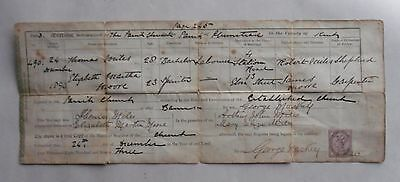 24 December 1893 Marriage Certificate. Plumstead, Kent. T. Miles to E. Moore 19C