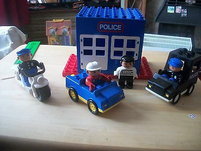 Duplo Police Station, Car, Bike, & Villain & 2 Policeman Good Condition