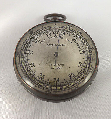 Antique Brass Pocket Barometer / Altimeter By Aitchison, London - Fully Working