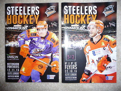Sheffield Steelers Ice Hockey Programme - set of 2 - Pristine condition -2016-17