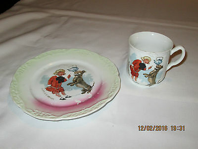 Antique Buster Brown Childrens Cup & Plate Advertising For Kids Shoes