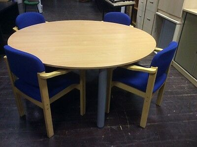 Beech Round Meeting Table & 4 Chairs