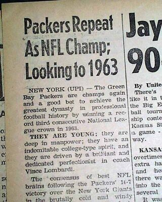 GREEN BAY PACKERS Win NFL Football Title vs. New York Giants 1962 Old Newspaper