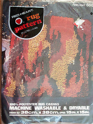 """NEW Red Heart Rug Pattern 100% Polyester Rug Canvas backing 15"""" X 15"""" flames"""