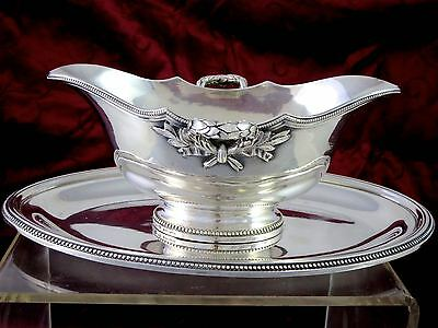 19th c. Empire CHRISTOFLE FRANCE Silverplate SAUCE BOAT W/PLATE Laurel Wreath