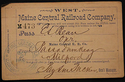 Original 1889 Maine Central Railroad Pass - West