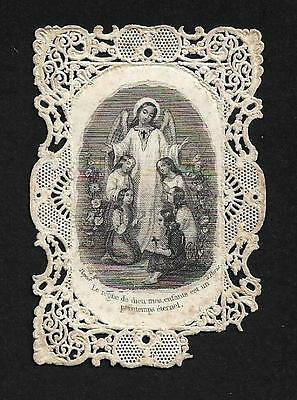 GUARDIAN ANGEL w/CHILDREN. Old Lace Old HOLY CARD w/prayer FRANCE 19th cent