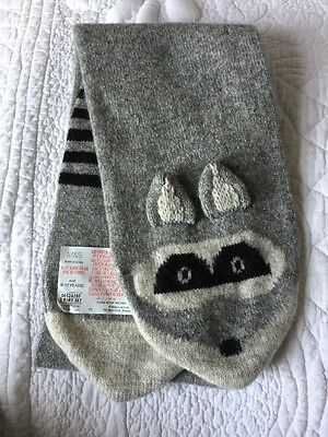 Marks And Spencer Raccoon Scarf Age 6- 10 Years NEW Grey Unisex