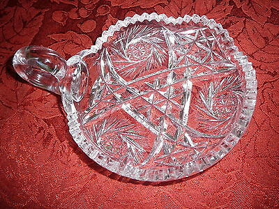 Cut Glass Lead Crystal Candy Dish With Handle Pinwheel Starburst ABP?