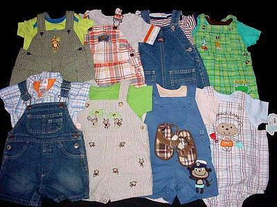 Used Baby Boy One Piece 6-9 Months Spring Summer Overall Shorts Clothes Lot