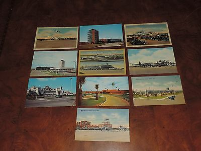 Antique Postcard Lot Airport Terminal Airplane Airlines & More (pt364)