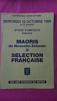 France v New Zealand Maoris 1988 Rugby Programme