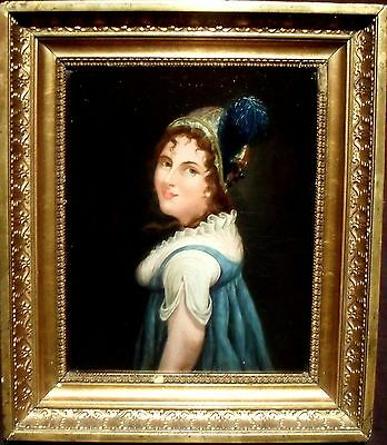 French School c1840 Portrait of a Woman in a plumed Hat. Oil Painting