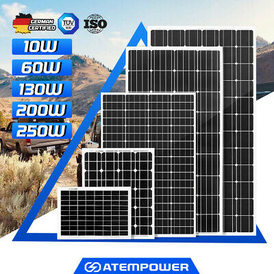 250W 200W 130W Solar Panel Mono 12V Battery Charge Camping Caravan Power Home