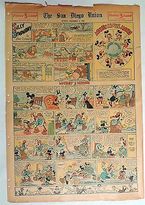 B636. Walt Disney SILLY SYMPHONIES MICKEY MOUSE Newspaper Comic Page (1934) [