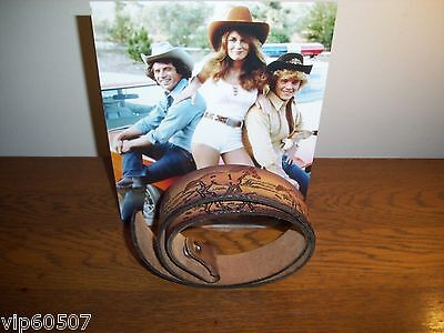 "Vintage ""daisy Duke"" Dukes Of Hazzard Style Brown Leather Tooled Western Belt"