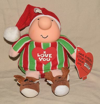"""Vintage Reindeer Slippers ZIGGY Plush Christmas 1991 """"I LOVE YOU"""" NEW OLD STOCK"""