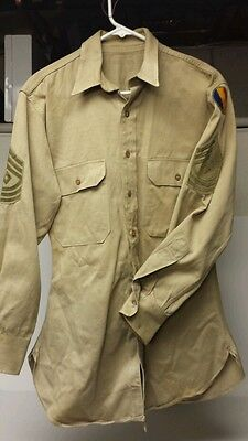 WW2 Era US Army GI Shirt Sz 15 1/2-33 Master Sgt. Replacement & School Command